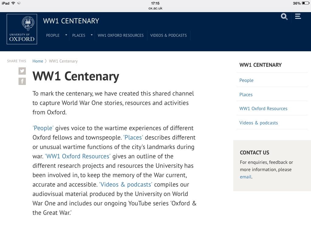 Oxford WW1 website